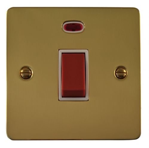 G&H FB46W Flat Plate Polished Brass 45 Amp DP Cooker Switch & Neon Single Plate